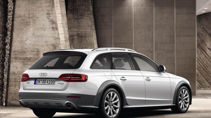 Side BAck Pose Of Audi A4 Allroad Quattro In White